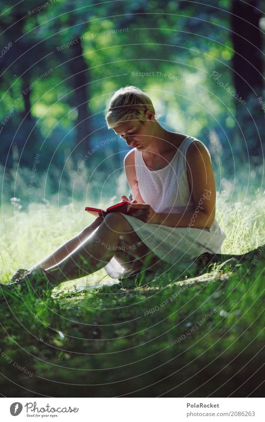 Woman Summer Green Relaxation Calm Forest Meadow Grass Art Park Esthetic Idyll Reading Write Work of art Remote