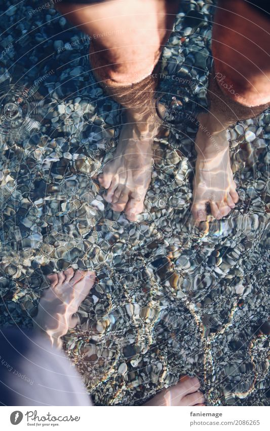 cooling down Lifestyle Leisure and hobbies Emotions Moody Joy Happy Love Feet Couple Man Woman Legs Pebble Gravel beach Cinque Terre Monterosso Beach