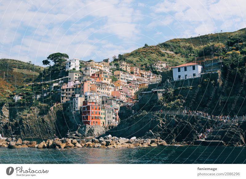Cinque Terre XVIII Village Fishing village Town Port City Beautiful Riomaggiore Liguria Italy Italian Mediterranean Mediterranean sea Mountain Harbour