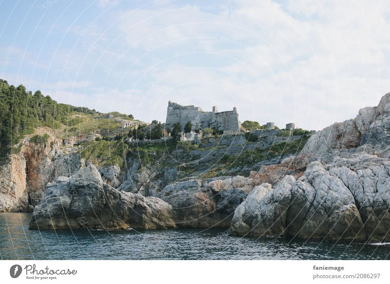 Cinque Terre XVII Environment Nature Landscape Old Portovenere Italy Mediterranean sea Ruin Rock Rocky coastline Hill Water Ocean Vacation & Travel