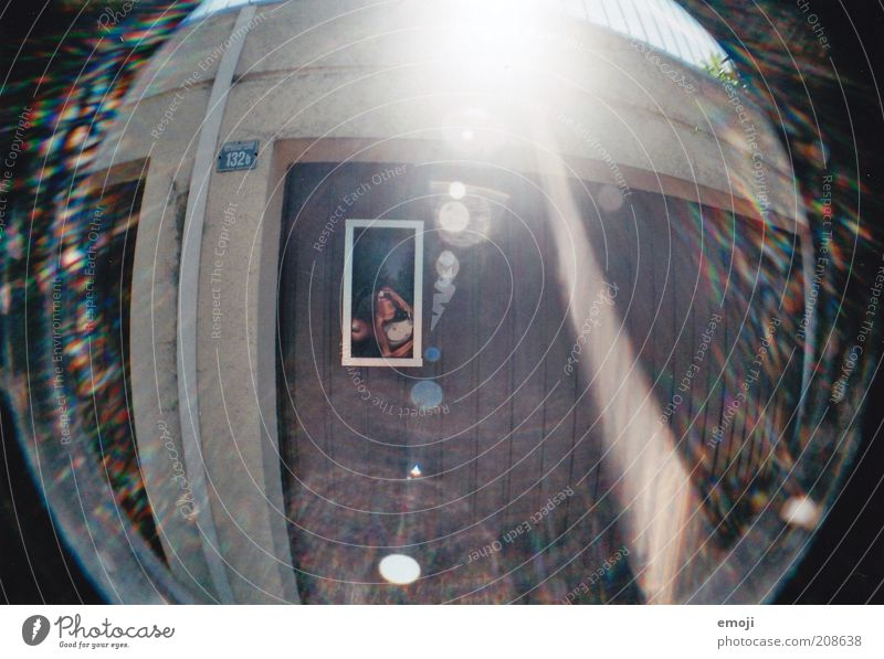 high tide Garage Lens flare Glare effect Fisheye Analog Colour photo Exterior shot Lomography Morning Day Reflection Sunlight Sunbeam Sunrise Sunset Garage door
