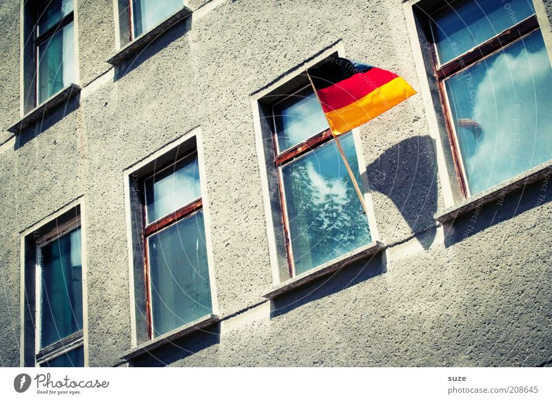 Old House (Residential Structure) Joy Window Moody Facade Success Soccer Sign German Flag Past Apartment Building Hang Euphoria Section of image