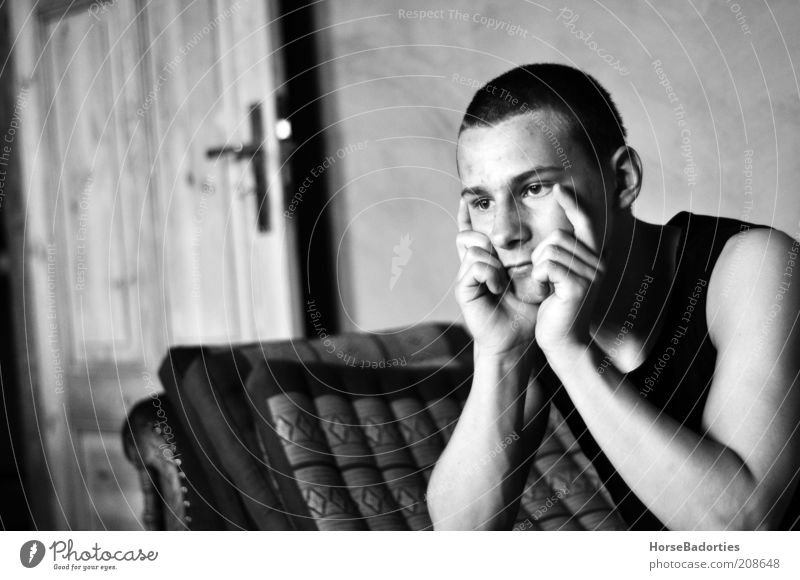 Luke - The Thinker Human being Masculine Young man Youth (Young adults) 1 Looking Esthetic Moody Serene Calm Loneliness Black & white photo Interior shot