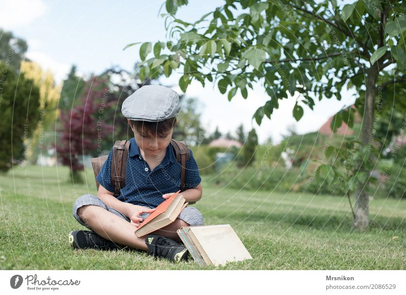 Human being Child Summer Life Boy (child) Garden Infancy Sit Smiling Study Book Reading Cap Toddler Know Ancient