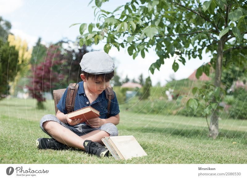 which I take Masculine Child Boy (child) Infancy Life 1 Human being 3 - 8 years Nature Summer Beautiful weather Tree Garden Meadow Smiling Study Reading Sit