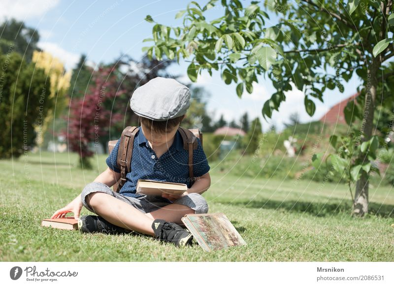 reader Reading Adventure Freedom Summer Masculine Child Toddler Boy (child) Family & Relations Infancy 1 Human being 3 - 8 years Garden Park Observe Study