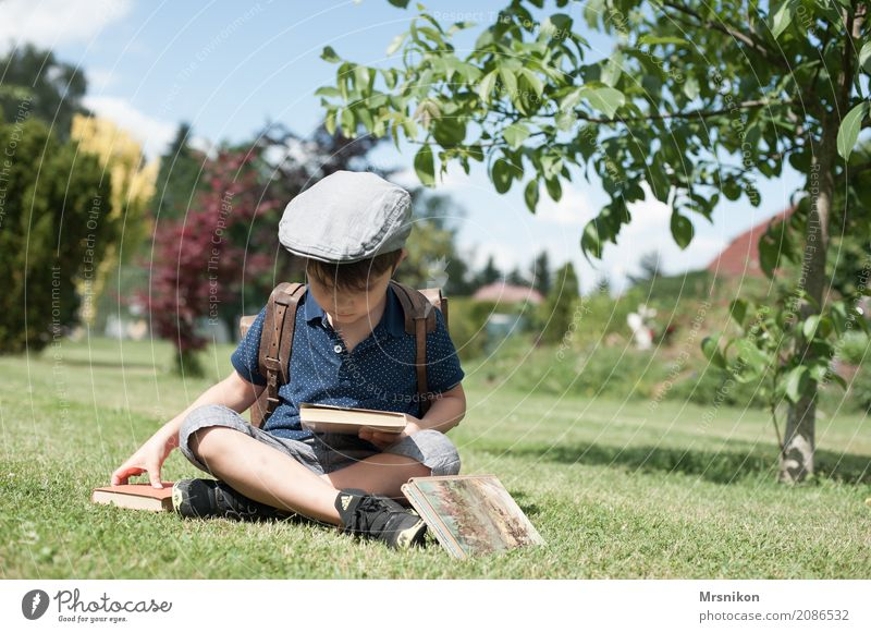 read Leisure and hobbies Masculine Child Boy (child) Infancy Life 1 Human being 3 - 8 years Summer Beautiful weather Garden Meadow Reading Sit Dream Authentic