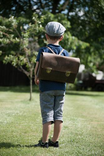 school Masculine Child Toddler Boy (child) Infancy Life 1 Human being 3 - 8 years Observe Think Looking Stand First day at school School Satchel Exterior shot