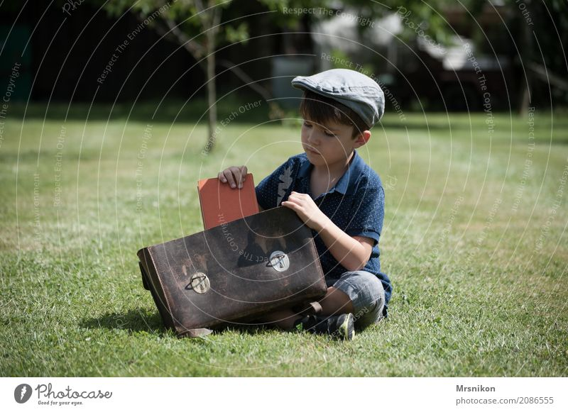 school Human being Masculine Child Boy (child) Infancy Life 1 3 - 8 years Nature Summer Garden Meadow Study Looking Sit Cap Nostalgia Satchel Book