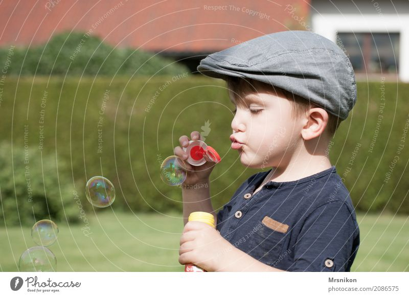 soap bubbles Child Toddler Boy (child) Infancy Life 1 Human being 1 - 3 years Natural Cute Cap Children's game Childhood memory Childhood dream Soap bubble Blow