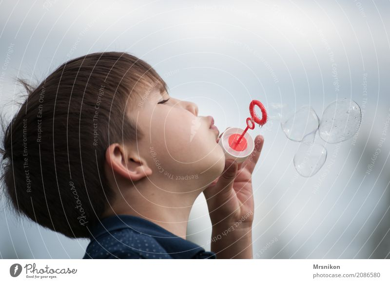 soap bubbles Child Boy (child) Infancy 1 Human being 3 - 8 years Joy Happy Curiosity Hope Belief Soap bubble Brunette Blow Playing Colour photo Subdued colour