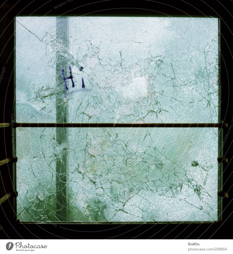 [H 10.1] Smashed to pieces Window Glass Metal Dirty Dark Broken Trashy Green Destruction Rupture Fragile Colour photo Interior shot Lomography Deserted