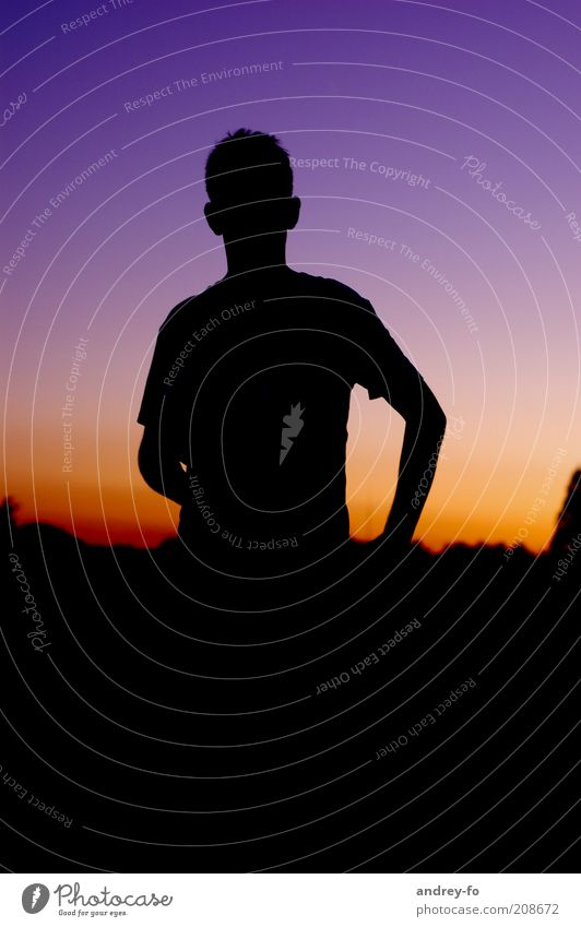 silhouette Masculine Young man Youth (Young adults) 1 Human being Stand Moody Silhouette Man Twilight Air Sky Neutral Background Calm Evening Shadow