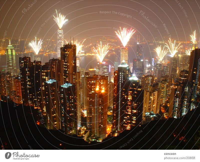 Hong Kong Fireworks Night Laser High-rise Might Multicoloured Hongkong China Success Victoria Peak Vantage point Firecracker Skyline Large Gigantic Lamp