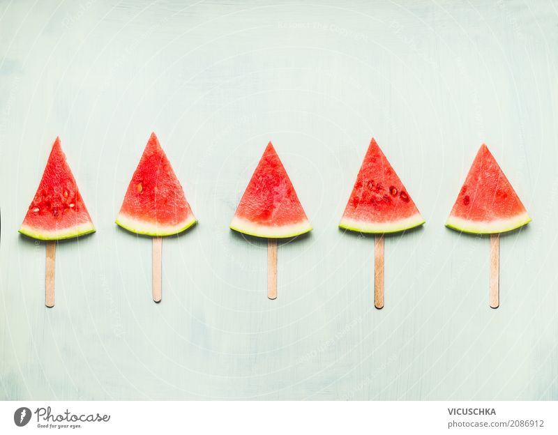 Watermelon Ice on a stick Food Fruit Dessert Organic produce Vegetarian diet Diet Juice Lifestyle Style Design Healthy Healthy Eating Summer Fitness