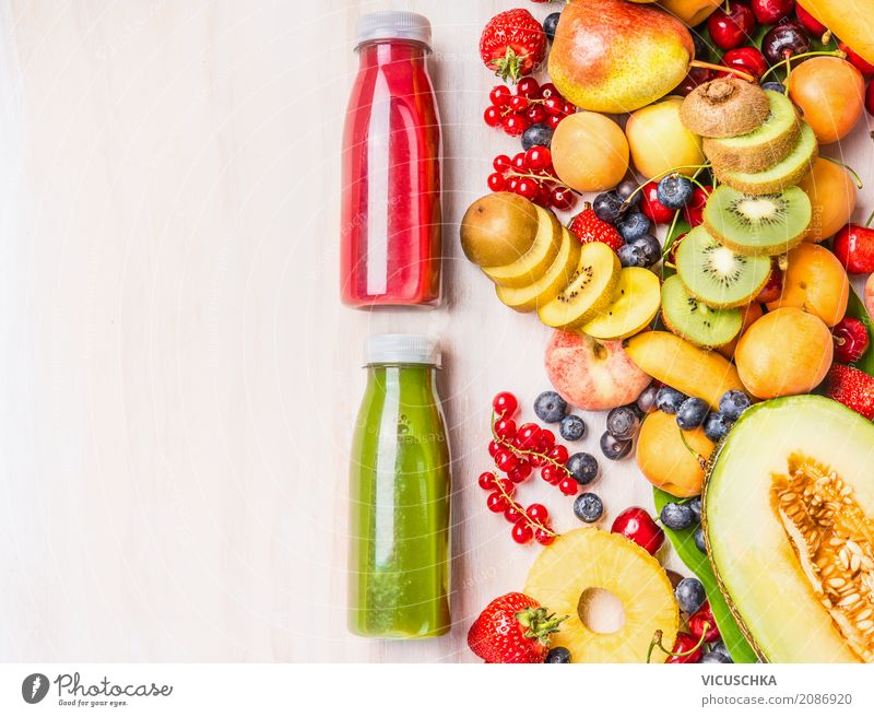 Smoothies bottles with summer fruits Food Fruit Nutrition Organic produce Vegetarian diet Diet Beverage Cold drink Lemonade Juice Shopping Style Design Healthy