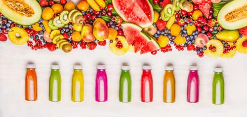 Colourful smoothie and juices with fruit selection Food Fruit Nutrition Organic produce Vegetarian diet Diet Beverage Cold drink Juice Bottle Lifestyle Style