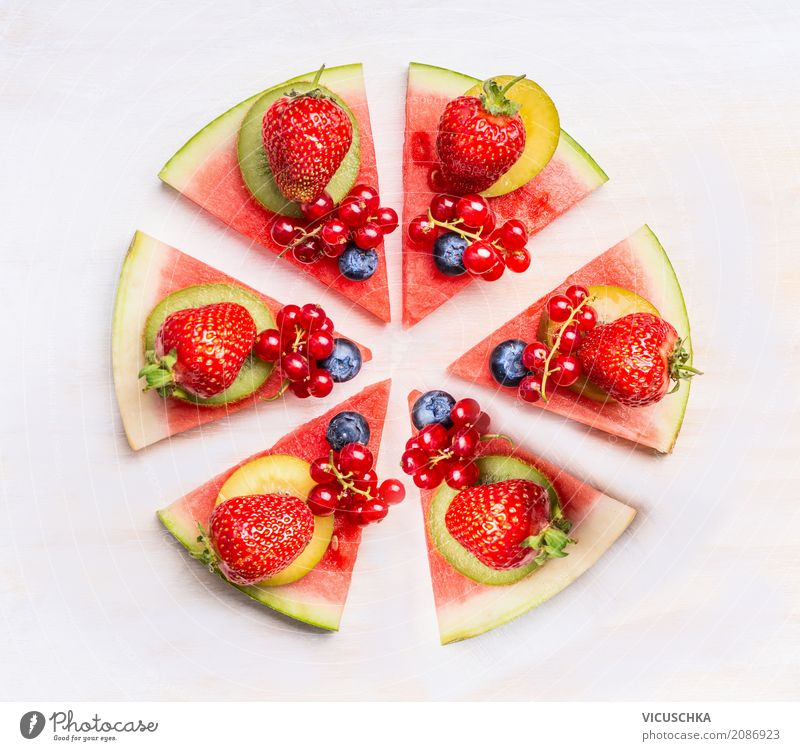 Watermelon pizza with fruits and berries Food Fruit Dessert Nutrition Organic produce Vegetarian diet Diet Style Design Healthy Eating Life Pink Pizza
