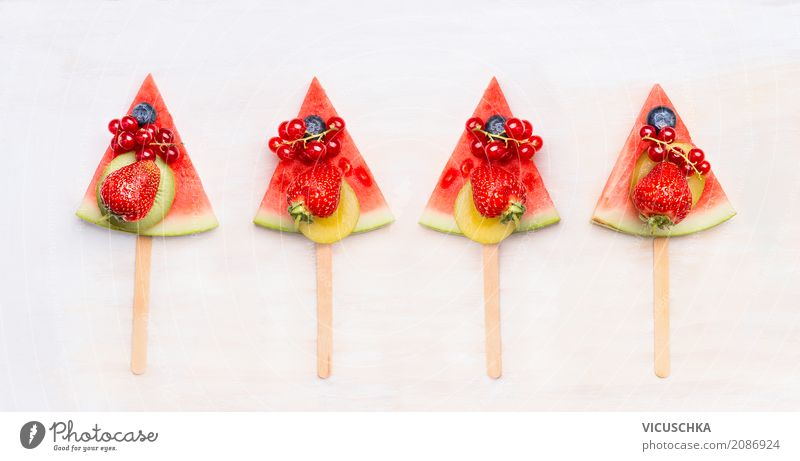 Watermelon fruit ice cream on a stem with berries Food Fruit Dessert Nutrition Juice Lifestyle Style Design Healthy Eating Summer Cool (slang) Snack Vegan diet