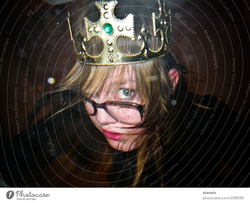 king-size Luxury Carnival Human being Woman Adults Head Crown Blonde Gold Looking King Princess Nerdy Trashy Innocent Colour photo Experimental Copy Space left