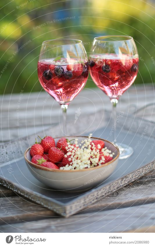 summer tastes like this iii Beverage Cold drink Alcoholic drinks Sparkling wine Prosecco Glass Fresh Delicious Summer To enjoy Garden Strawberry Elderflower