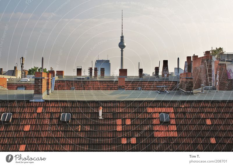 above the roofs of berlin Telecommunications Town Capital city Downtown Old town Deserted House (Residential Structure) Roof Chimney Antenna Tourist Attraction