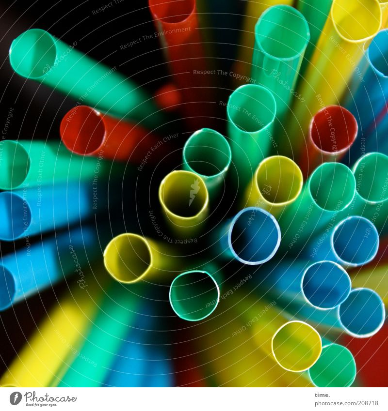 Blue Green Red Yellow Multiple Perspective Round Many Symbols and metaphors Plastic Depth of field Long Pipe Cold drink Artificial Straw