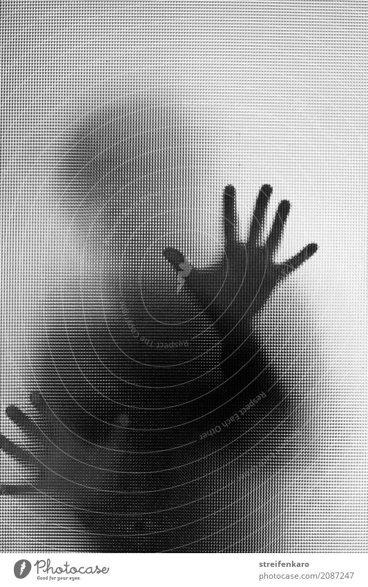 Human silhouette behind a glass pane, hands touching the pane Woman Adults Man Hand 1 Human being Glass Observe Touch Aggression Esthetic Threat Dark Creepy