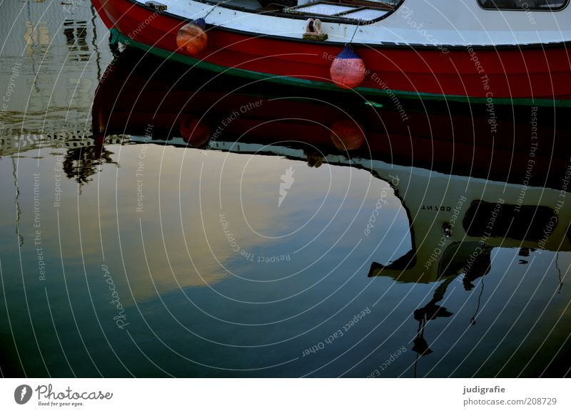 Red Calm Dark Coast Moody Watercraft Bay Harbour Jetty Surface of water Mirror image Buoy Føroyar Denmark Tórshavn