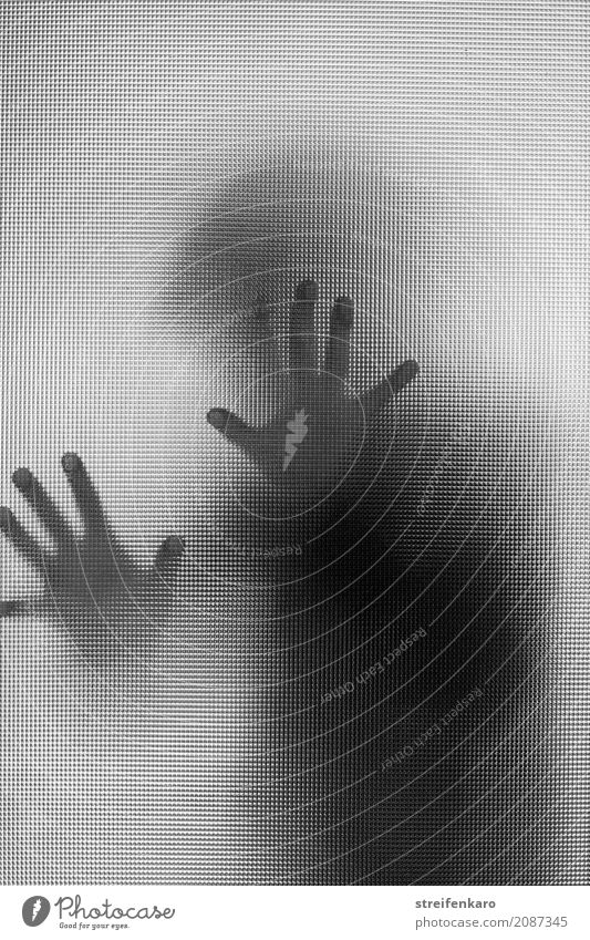Human silhouette behind a glass pane, hands touching the pane Human being Woman Adults Man Hand 1 30 - 45 years Glass Touch Esthetic Threat Dark Creepy Gray