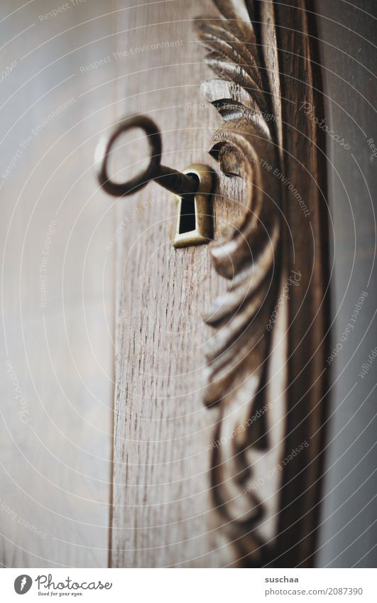 under lock Key Keyhole Wood Wooden door Closed Hide Safety Mysterious Curiosity Bans Closure wood ornament Carving living room cupboard Wardrobe door