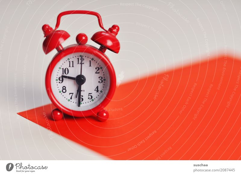 the red alarm clock Red Alarm clock Wake Arise ring Clock Time wake-up time Haste lack of time Timetable Digits and numbers Clock hand Small 9:30 a.m. Sleep