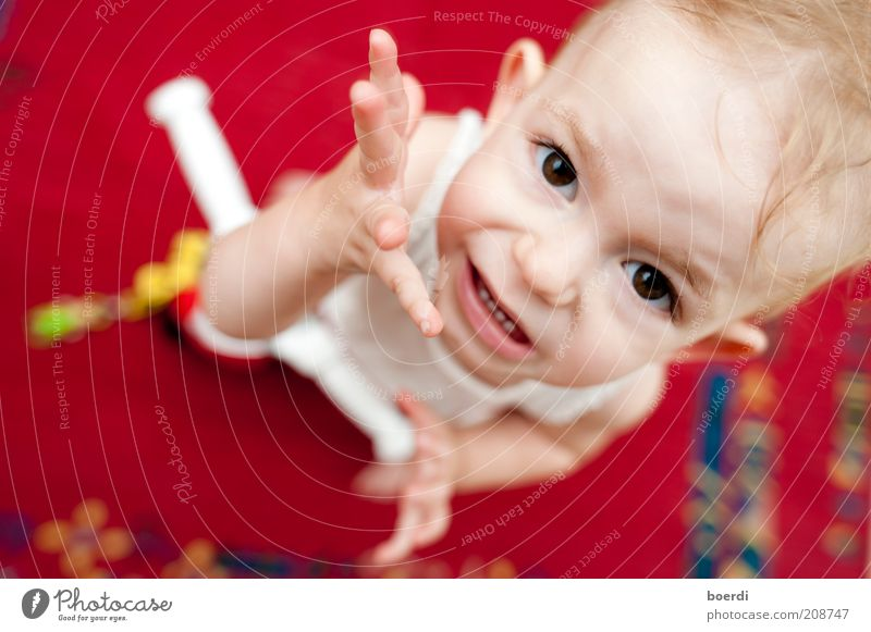 Human being Child Hand Beautiful Red Face Playing Head Moody Funny Infancy Stand Cool (slang) Desire Curiosity Under