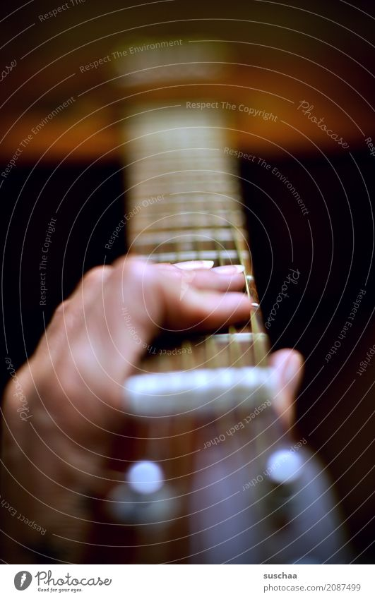 Make music again Guitar Guitar neck Guitar string Hand Fingers sound body Music Sound Musician Compose Rock music Pop music Song Listening feel Acoustic