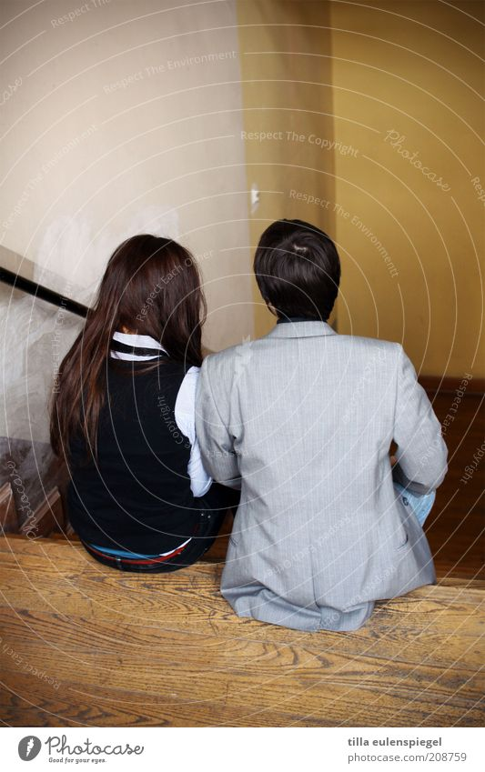 Human being Youth (Young adults) Wood Couple Together Back Sit Masculine Stairs Handrail Suit Attachment Brunette Staircase (Hallway) Long-haired