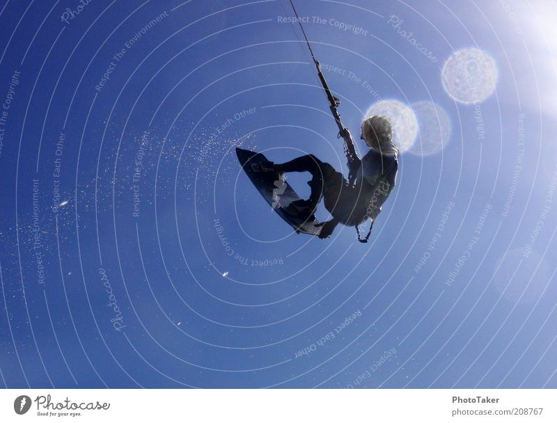 Human being Youth (Young adults) Sun Ocean Summer Joy Beach Sports Style Freedom Wind Masculine Flying Drops of water Lifestyle