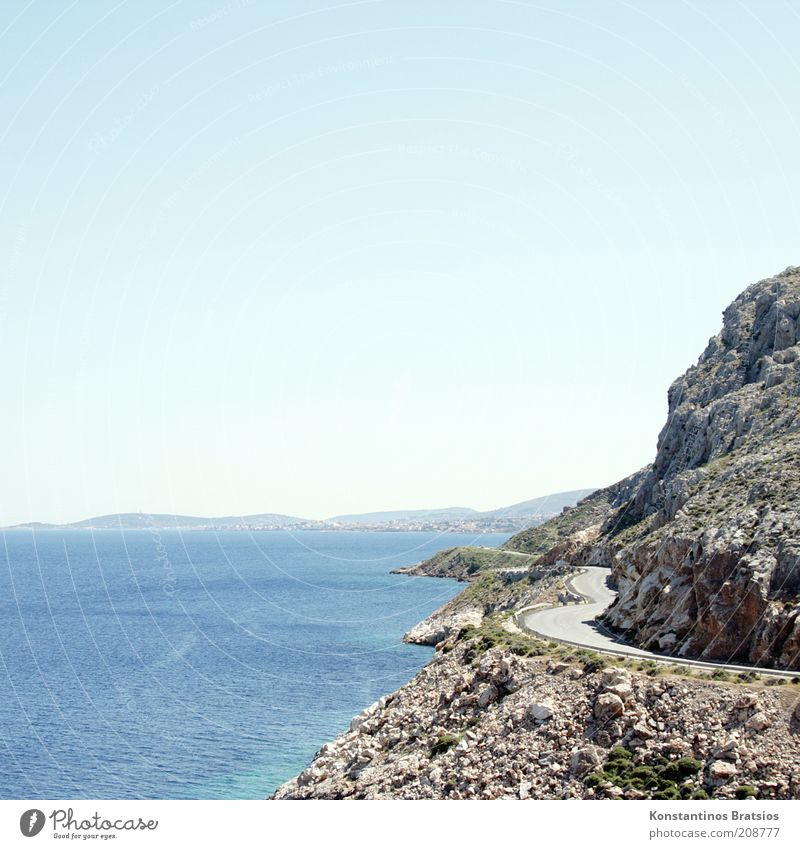 Curves with outlet Sky Cloudless sky Horizon Sunlight Summer Beautiful weather Warmth Rock Coast Island chios Greece Europe Traffic infrastructure Hot Bright