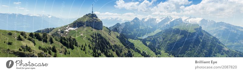 Panorama Hoher Kasten Vacation & Travel Tourism Summer Nature Landscape Beautiful weather Rock Alps Mountain Mount Säntis Free Gigantic Tall Warmth Switzerland