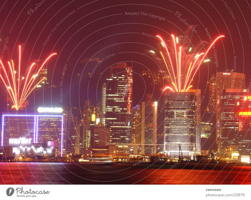 Feasts & Celebrations Success High-rise New Year's Eve Advertising China Firecracker Skyline Neon light Laser Explosion Hongkong Far East