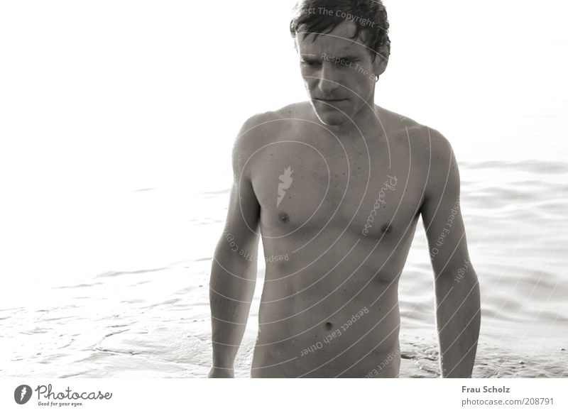 Here Is No Why Masculine Man Adults Body Skin Water Drops of water Summer Baltic Sea Ocean Swimming & Bathing Calm Black & white photo Upper body Downward