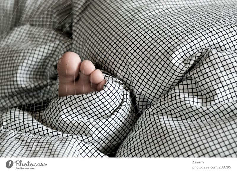 fussi Bed Feet Relaxation Lie Sleep Simple Gray Safety (feeling of) Calm Indifferent Serene Toes Bedclothes Pattern Folds Sweet Small Girl Night Arise Morning
