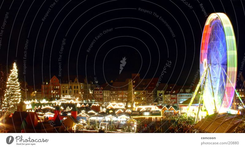 Christmas & Advent Glittering Europe House (Residential Structure) Christmas tree Germany Ferris wheel Christmas decoration Thuringia Erfurt Adorned Half-timbered house