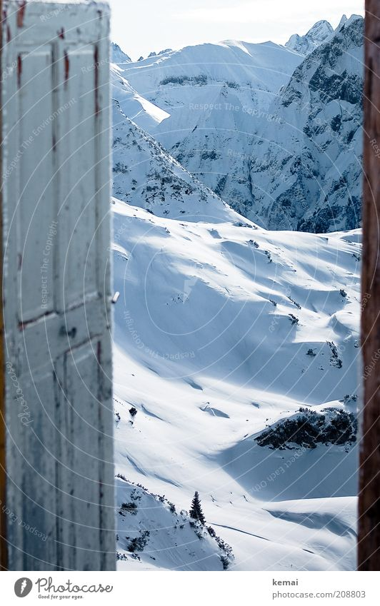 The door to Narnia Environment Nature Landscape Elements Sunlight Winter Climate Beautiful weather Snow Hill Rock Alps Mountain foghorn pointer saddle Peak