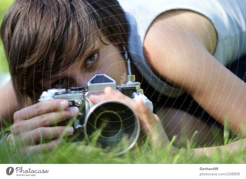 Human being Youth (Young adults) Meadow Feminine Grass Art Adults Earth Perspective Cool (slang) Retro Near Lie Woman Observe