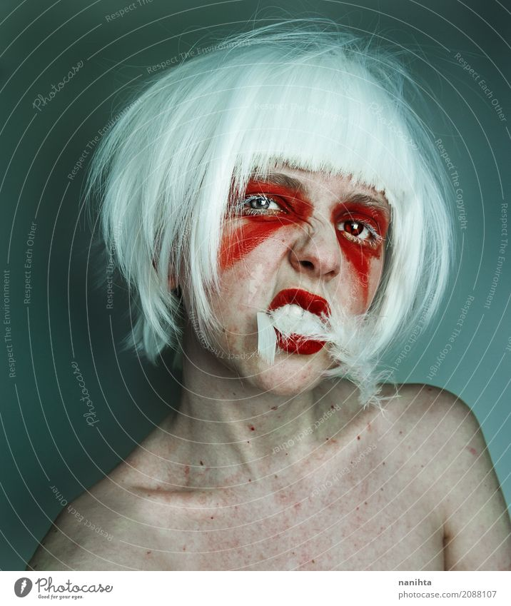 Artistic portrait of a young wild woman Make-up Lipstick Carnival Hallowe'en Human being Androgynous Youth (Young adults) 1 18 - 30 years Adults White-haired
