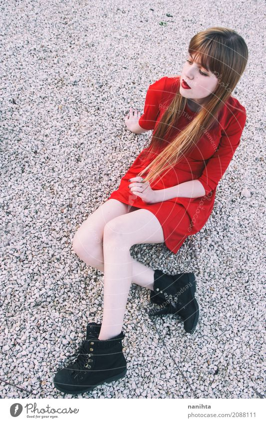 Young blonde woman wearing a red dress Elegant Style Human being Feminine Young woman Youth (Young adults) 1 18 - 30 years Adults Fashion Dress Boots