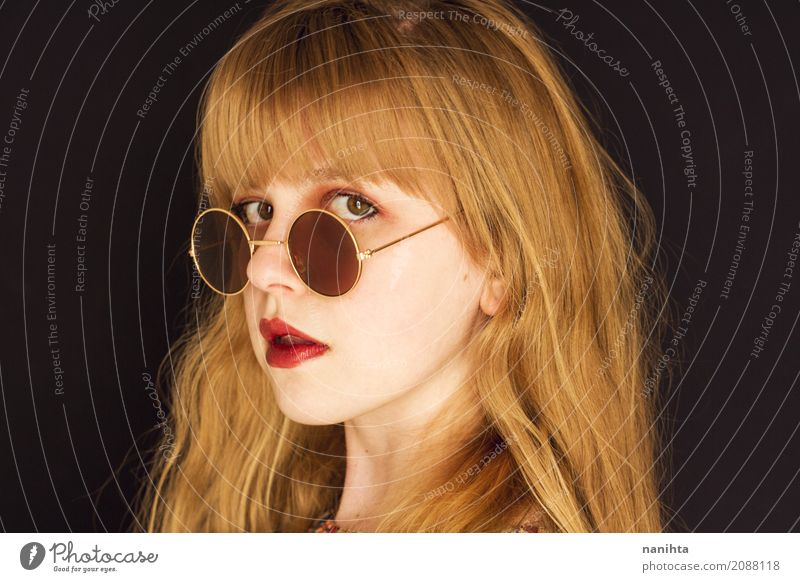 Young blonde woman with circle sunglasses Human being Youth (Young adults) Young woman Beautiful Red 18 - 30 years Black Face Adults Yellow Feminine Style