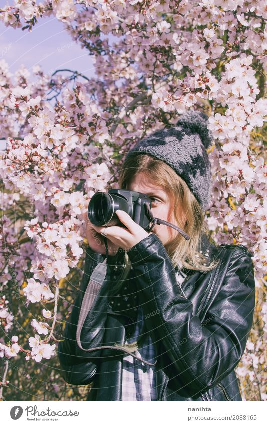 Young woman taking photographies in nature Lifestyle Leisure and hobbies Photography Photographer Photo shoot Human being Feminine Youth (Young adults) 1