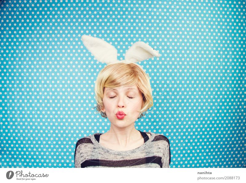Young woman wearing rabbit ears Human being Youth (Young adults) Blue White 18 - 30 years Adults Life Lifestyle Funny Feminine Style Moody Dream Fresh Blonde