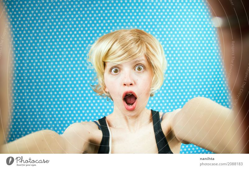 Self-portrait of a young surprised woman Lifestyle Human being Feminine Young woman Youth (Young adults) 1 18 - 30 years Adults Hair and hairstyles Blonde